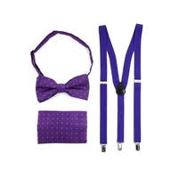 3pc Men's Purple Banded Suspenders, Floral Bow Tie and Hanky Sets - One Size Fits most