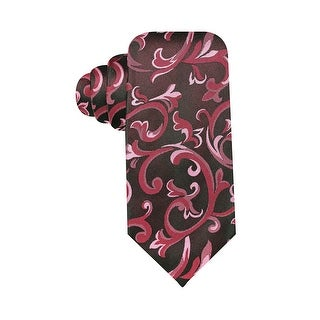 Alfani Spectrum Hand Made Monroe Paisley Slim Silk Necktie Pink and Charcoal - One Size Fits most