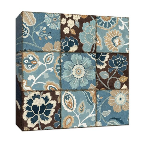 """PTM Images 9-153232 PTM Canvas Collection 12"""" x 12"""" - """"Blue Patchwork Motif"""" Giclee Flowers Art Print on Canvas"""