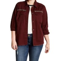 Jolt Wine Red Womens Size 2X Plus Embroidered Button Down Top