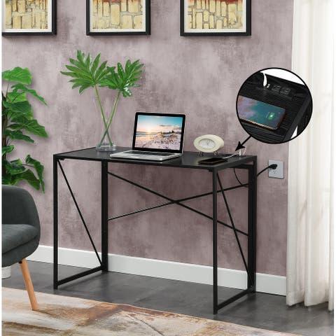 Porch & Den Demi Folding Desk with Charging Station