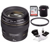 Canon EF 85mm f/1.8 USM Medium Telephoto Lens with 32GB Card and Pouch Bundle