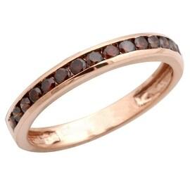 Brand New 0.54 Carat Round Brilliant Cut Cognac Diamond Anniversary Ring