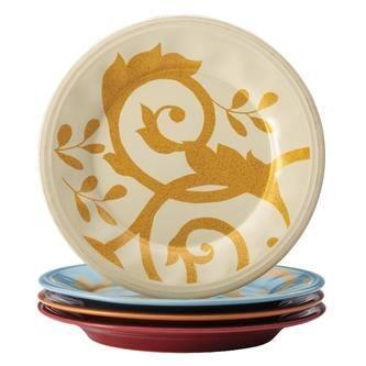 Rachael Ray Dinnerware Gold Scroll 4-Piece Salad Plate Set Assorted - Cream
