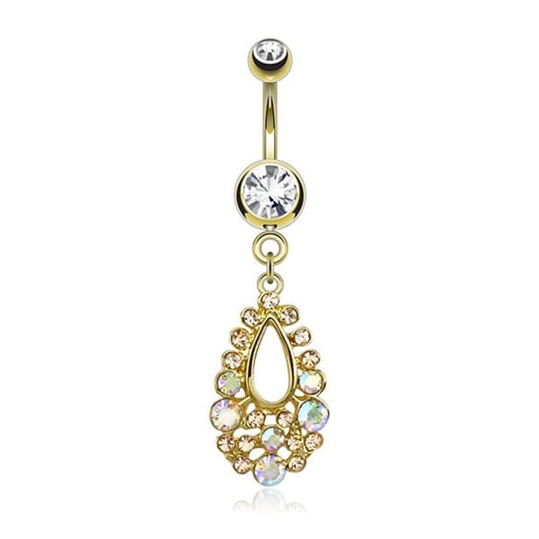 Tear Drop Dangle and Aurora Borealis CZ gold-plated Navel Belly Button Ring