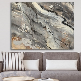 Designart 'Fire and Ice Minerals II' Farmhouse Canvas Artwork - Black