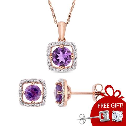 Miadora 10k Rose Gold Amethyst and 1/3ct TDW Diamond Floating Halo Jewelry Set