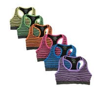 Women's 6 Pack Multi Color Stripe Grey Heather Base Athletic Sports Yoga Bras