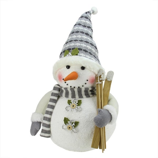 "20"" Alpine Chic Snowman with Skis and Snowflake Buttons Christmas Decoration - WHITE"