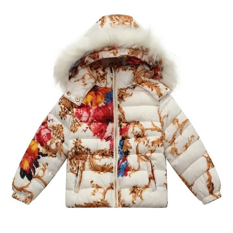Richie House Baby Girls Red White Floral Print Padding Jacket 24M - 24 months