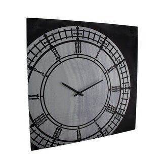 Black & White Vintage Inspired Canvas Print Wall Clock 21 X 21 Inch - 21 X 21 X 1 inches