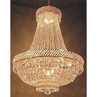 Swarovski Crystal Trimmed French Empire Chandelier Lighting With 9 Lights Gold
