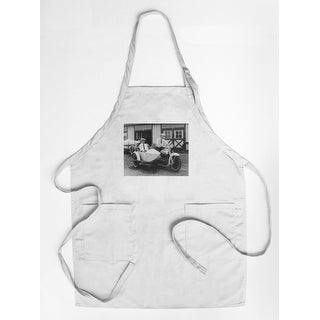 Men on Harley Davidson Motorcycle with Sidecar - Vintage Photograph (Cotton/Polyester Chef's Apron)