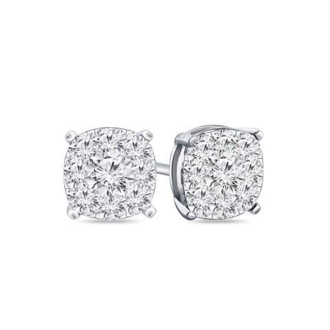 Auriya 14k Gold 1/4ctw Cushion Pave Diamond Stud Earrings