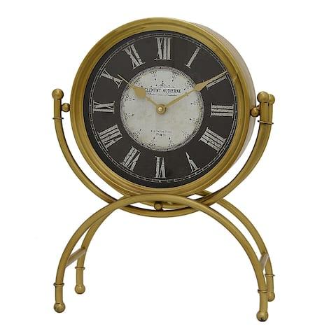 Plutus Brands Metal Table Clock in Gold Metal