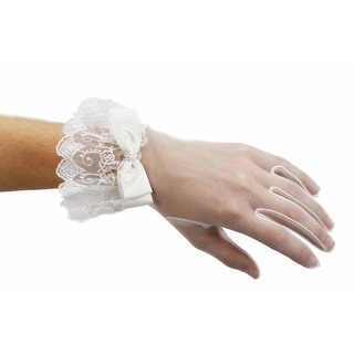 Coronation Day Wrist Length Sheer Gloves with Lace and Bow