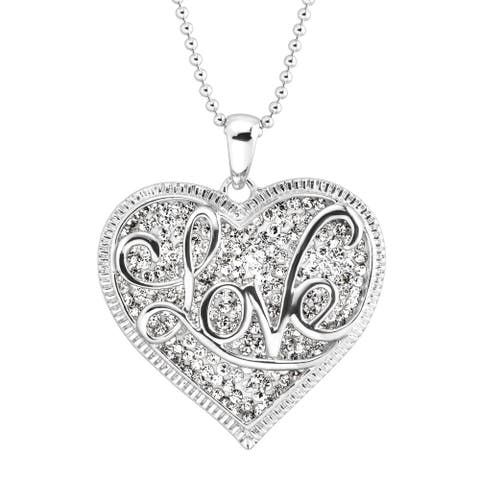 Crystaluxe 'Love' Script Overlay Pendant with Crystals in Sterling Silver - White