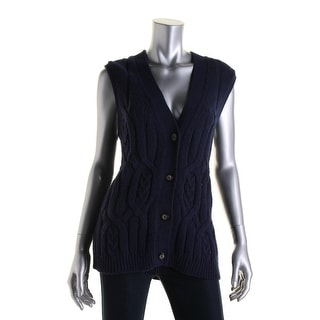 Tommy Hilfiger Womens Cable Knit Button-Down Sweater Vest - XS