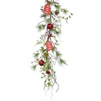 Pack of 2 Green and Red Artificial Decorative Pine Garlands with Tag 5'