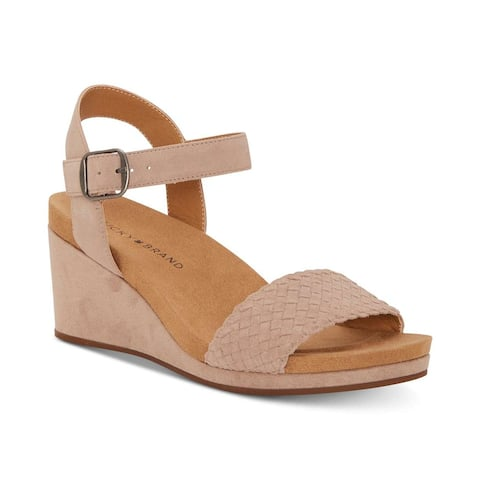 Lucky Brand Womens Kenette Leather Open Toe Casual Platform Sandals