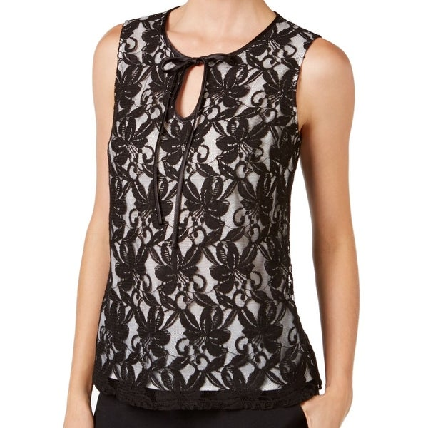 50225a3c47c6 Shop Kasper NEW Black Women s Size Large L Floral Lace Neck Tie Tank Blouse  - Free Shipping On Orders Over  45 - Overstock.com - 18359832