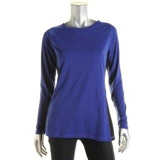 L-RL Lauren Active Womens Colorblock Long Sleeves Pullover Top - S