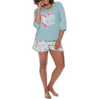 Link to Munki Munki Women's 2 Piece Printed T-Shirt & Shorts Pajama Sleepwear Lounge Set - Light Blue Cakes Similar Items in Intimates