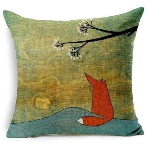 Vintage Home Decor Cotton Linen Pillow Case #127 Fox Tree