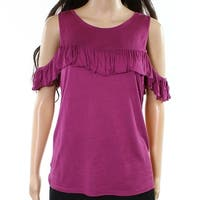 Willow & Clay Purple Women Size Small S Ruffled Cold Shoulder Blouse