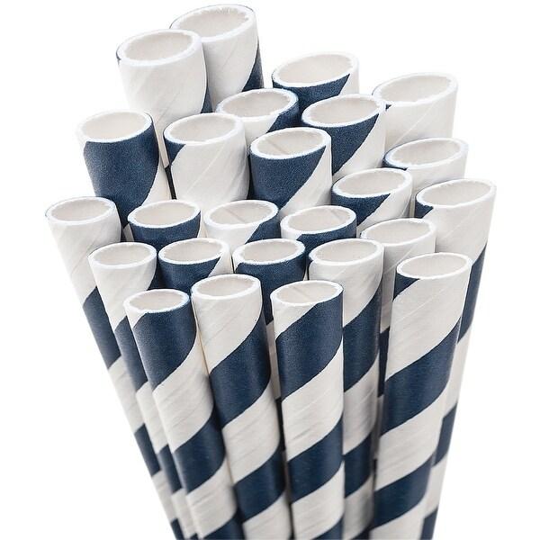 "Paper Drinking Straws 7.75"" 50/Pkg-Navy Blue & White Striped"