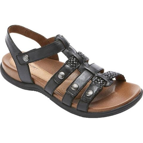Rockport Women's Cobb Hill Rubey T Strap Sandal Black Leather