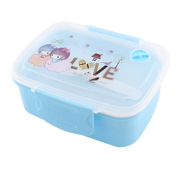 Unique Bargains Plastic Rectangle Shaped 2 Layer Removable Cover Lunch Box  Food Container Blue