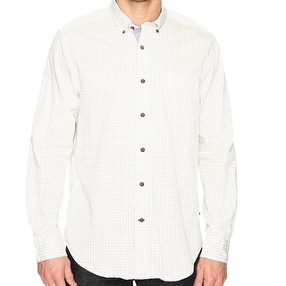 Nautica NEW White Ivory Printed Twill Mens Size XL Button Down Shirt