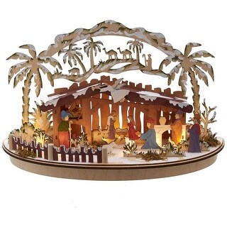 Link to Kurt Adler 11-Inch Battery-Operated Light-Up Wooden Nativity Scene Similar Items in Decorative Accessories