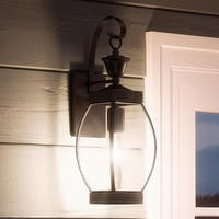 """Luxury Colonial Outdoor Wall Light, 17""""H x 5.5""""W, with Transitional Style, Bowed Design, Medieval Bronze Finish"""