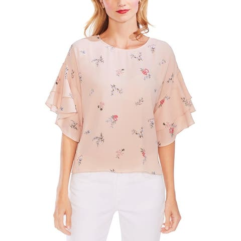 Vince Camuto Womens Blouse Floral Tiered
