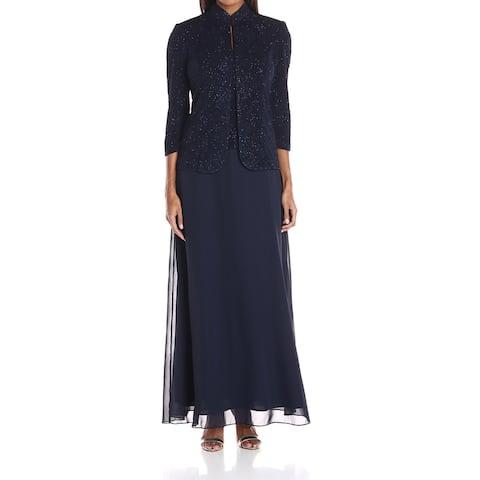 ALEXE EVENINGS Navy Sequin Lace 3/4 Sleeve Women's 12 Peplum Dress