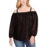 Jessica Simpson Jet Black Womens Size 2X Plus Velvet Knit Top