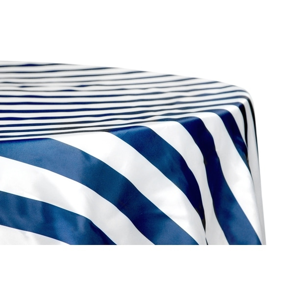 """12 Pieces, Stripe 132"""" Satin Round Tablecloth Approx. 132"""" diameter with two side seams; Edge: Serged - Navy Blue & White"""