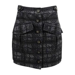 RACHEL Rachel Roy Women's Button-Front Utility Skirt (22W, Grey Combo) - grey combo - 22W