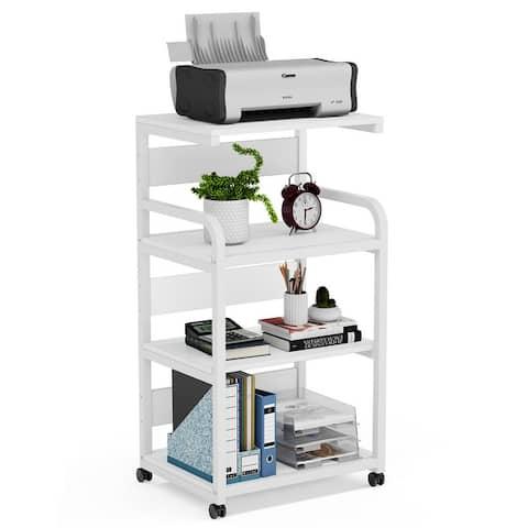 Mobile Printer Stand with Storage Shelves,4 Tier Printer Cart Desk Machine Stand