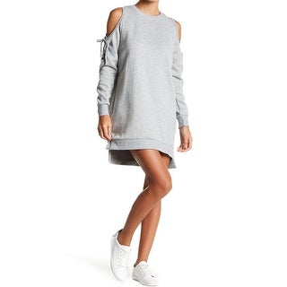 Solutions Women's Lace-Up Cold-Shoulder Sweater Dress