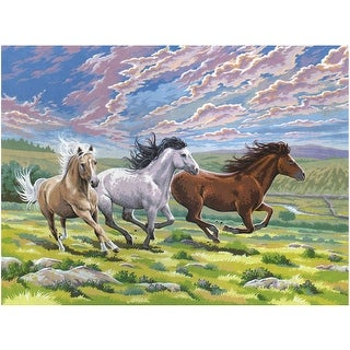 """Paint By Number Kit 12""""X16""""-Galloping Horses"""