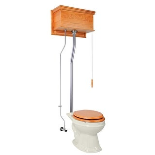 Light Oak High Tank Pull Chain Toilet L-Pipe Elongated Bowl | Renovator's Supply