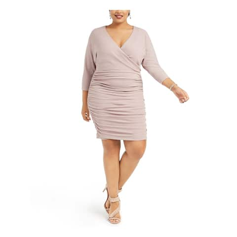 VINCE CAMUTO Beige 3/4 Sleeve Above The Knee Dress 16W