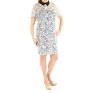 Womens Black White Floral Short Sleeve Above The Knee Sheath Cocktail Dress Size: 14