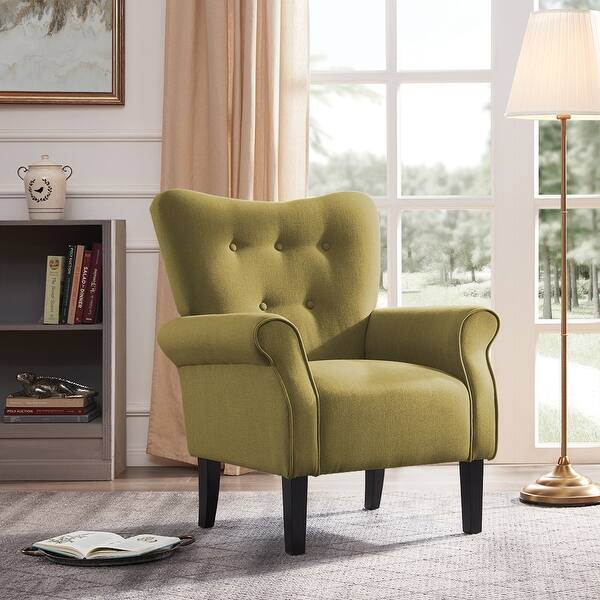 BELLEZE High-Back Chair Arm Seat Cushion W/ Wooden Leg (Avocado) - Standard - Overstock - 22693463