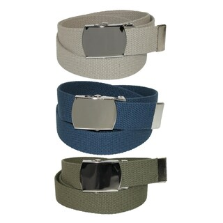 CTM® Cotton with Nickel Buckle Adjustable Belt (Pack of 3 Colors) (Option: khaki / navy / olive)