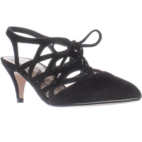 Nina Francie Lace-up Low-Heel Pumps, Black Suede - 5.5 us