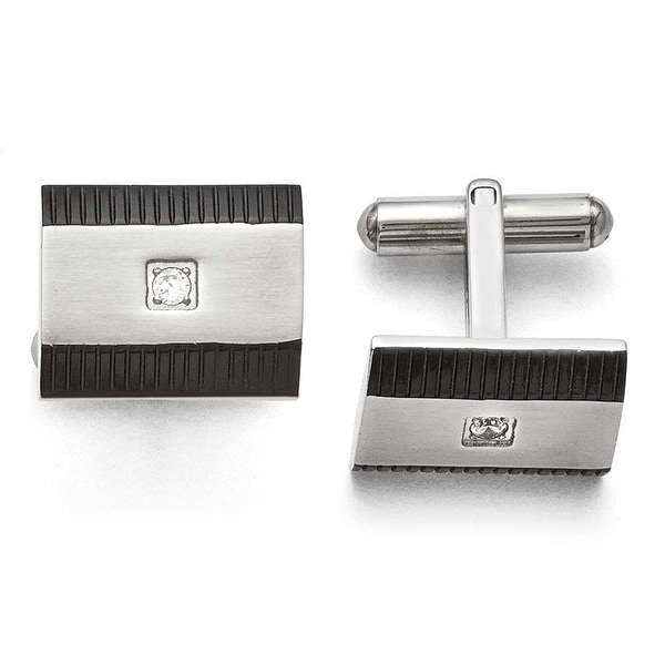 Chisel Stainless Steel Black IP CZ Polished Cuff Links